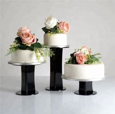 Emily Design Black Acrylic Round Cake Stand from Wedding Cake Display, Cake Stand Display, 3 Tier Cake Stand, Cake And Cupcake Stand, Wedding Cake Stands, Acrylic Cake Stands, Acrylic Display Stands, Round Wedding Cakes, Round Cakes