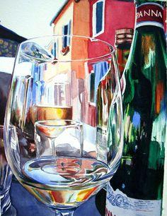 Burano Glass Art Print by Kelly Eddington - X-Small Advanced Higher Art, Reflection Art, Wine Art, A Level Art, In Vino Veritas, Watercolour Tutorials, Arte Pop, Prints For Sale, Art Inspo