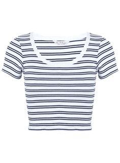 Stripe Round Neck Rib Tee - Miss Selfridge