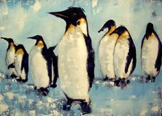 Acrylic on canvas 50x70  Abstract penguins