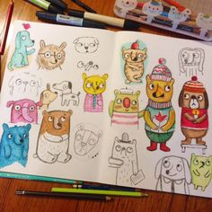Experiments with pens and pencils (c)Linzie Hunter #art #journal #sketchbook