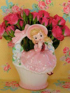 Vintage Napco/Lefton Ceramic Planter Girl in Pink by KittyKatDance, $26.00