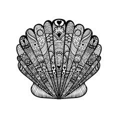 Zentangle stylized black sea shell. Hand Drawn doodle vector il — Stok İllüstrasyon #80310098