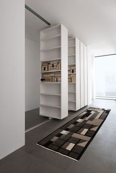 94 Amazing Bookshelf Design Ideas - Essential Furniture In Your Home Freestanding Double Sided Poplar Bookcase Manufacturer Murs Mobiles, Movable Walls, Bookshelf Design, Bookshelf Room Divider, Bookshelf Ideas, Wall Bookshelves, Bookcases, Interior Design Living Room, Small Spaces