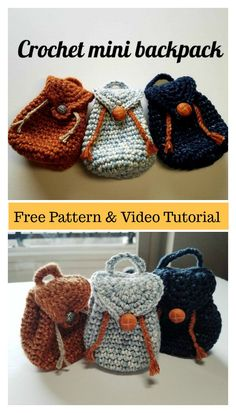 The Mini Backpack Keychain Free Crochet Pattern is very easy to make. It is fashionable and practical. Make one today with the free step by step video. Mini Backpack Keychain Free Crochet Pattern and Video Tutorial Crochet Diy, Crochet Gifts, Crochet Dolls, Crochet Clothes, Crochet Food, Knitted Dolls, Plush Dolls, Crochet Handbags, Crochet Purses