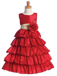 81e9ea3917f Red flower girl dress with changeable sash