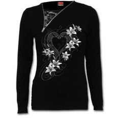 T-Shirt 2in1 mit Reißverschluss Weiße Blumen
