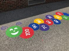 Kids will love this large caterpillar hopscotch outdoor playground stencil. Playground Painting, Outdoor Playground, Hopscotch, Pta, Caterpillar, Playroom, Stencils, Kids Rugs, School