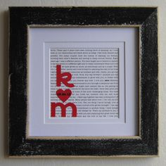 """DIY using lyrics of """"your"""" song, vows or poem as background to couples initials or you can purchase the Personalized Wedding/Bridal Shower Gift by GraceStoneDesigns via Etsy.com"""