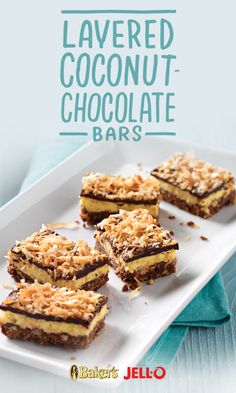 Chocolate? Good. Coconut? Good. Put them together in our Layered Coconut-Chocolate Bars and you've got something twice as good. And twice as easy as anything else you've ever made. JELL-O and BAKER'S chocolate get you on your way to this delicious summer treat.