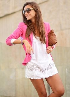 Try teaming a hot pink blazer with a white lace casual dress for a Sunday lunch with friends.  Shop this look for $597:  http://lookastic.com/women/looks/brown-clutch-and-neon-pink-blazer-and-white-casual-dress-and-dark-brown-sunglasses/2669  — Brown Woven Leather Clutch  — Hot Pink Blazer  — White Lace Casual Dress  — Dark Brown Sunglasses