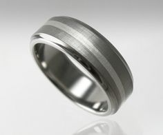 Men's Wedding Band Titanium Silver Swirl. $349.00, via Etsy. JUSTIN LIKES ME