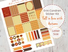 This kit contains many autumn themed stickers to brighten up your Erin Condren Planner or any other Filofax. It will be available as a PDF file for you to print out at home onto a blank self-adhesi…