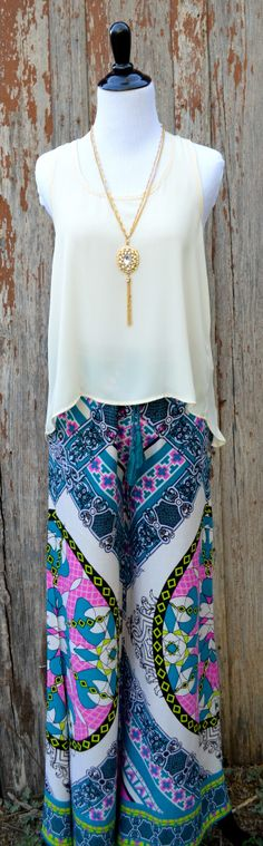 Teal Print Palazzo Pant from The Charming Arrow Boutique