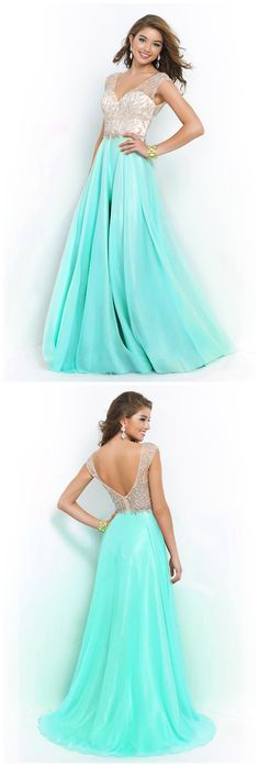 V Neck A Line Beaded Bodice Sweep Train Chiffon And Tulle Prom Dresses