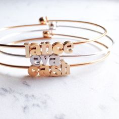 name bracelet // silver or gold by gigglosophy on Etsy