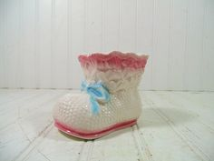 Vintage Relpo Ceramic Pastel Baby Bootie Figure by DivineOrders