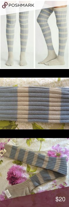 Free People Thigh-High Rugby Striped Sock Details: Serve retro ska style with a punk stripe thigh-high sock. Intentional uneven knit. Fit: this style is one size fits most. Shoe sizes between 5-10. Grey Combo. 98% polyester/2 % spandex. Machine wash cold. Bundle for discounts! Thank you for shopping my closet! Free People Accessories Hosiery & Socks