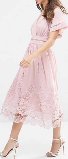lace hem midi dress More