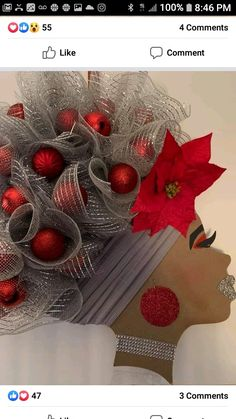 African Art Projects, African Crafts, Head Wreaths, Deco Mesh Wreaths, Christmas Love, Christmas Wreaths, Christmas Decorations, Decor Crafts, Diy And Crafts