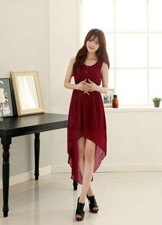 Stylerender High Grade High Low Hem Chiffon Dress