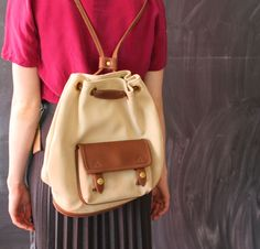 tan and leather backpack by cheapopulance on Etsy, $35.00