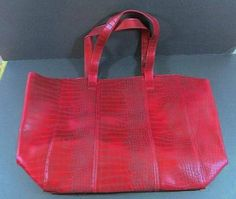 NEIMAN MARCUS Crocodile Red Wine Burgandy Large TOTE Shopper Purse Bag