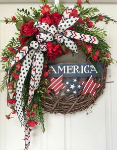 4th of July Patriotic Red White and Blue Country Round Grapevine Wreath by WilliamsFloral on Etsy https://www.etsy.com/listing/235041939/4th-of-july-patriotic-red-white-and-blue