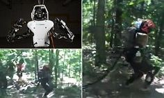"A woman walking her dog through some woodland was surprised when she met a two-legged Atlas robot created by Google-owned Boston Dynamics, based in Massachusetts, marching down the path. Here you go.... Haha haha... ""In the Terminator universe, a terminator is a formidable ""cybernetic organism"", robotic assassin and soldier, designed by the military supercomputer Skynet for infiltration and combat duty, towards the ultimate goal of exterminating the human resistance."""