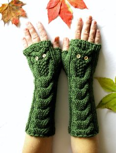 Owl Green Long Hand Knitted Arm Warmers Fingerless by NastiaDi
