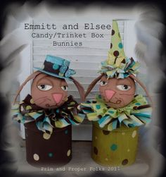 Emmitt and Elsee Bunny Candy/Trinket Box Easter Basket  Mailed Pattern