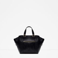 ZARA - WOMAN - LEATHER CITY BAG WITH ZIPS