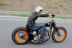 Cruisin bobber style. I gotta say although I have no love for those tires or ape…