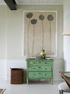 Green chest1- like the floral painting hung right above the chest from blog: Splendid Willow