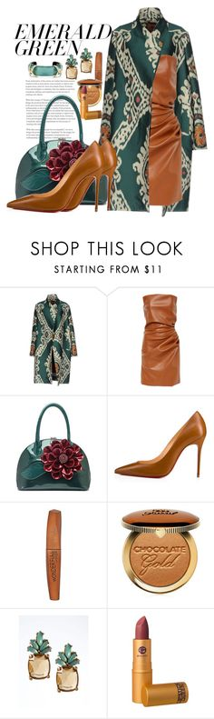 """Emerald Green"" by marionmeyer ❤ liked on Polyvore featuring Christian Louboutin, Rimmel, Too Faced Cosmetics, Banana Republic, Lipstick Queen, Alexis Bittar and emeraldgreen"