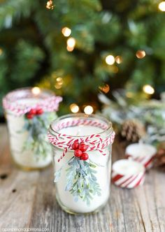Brighten up your Christmas tables with this DIY Christmas Mason Jar Candle!