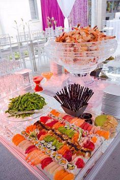 Sushi & Shrimp Wedding Bar / http://www.deerpearlflowers.com/wedding-food-bar-ideas/2/