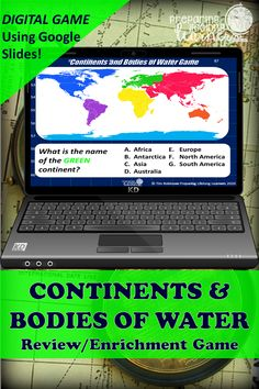 Your middle school social studies students will learn or review the 7 continents, and various bodies of water with this fun digital game that uses Google Slides.  Perfect for in class or at home enrichment or review! South America Continent, Basic Geography, Social Studies Games, Digital Review, Map Skills, Enrichment Activities, 7 Continents, Middle School Teachers, Review Games