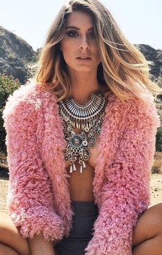 Pink Fur & Jewels - Bib Necklace ll #instafashion #ootd #bibnecklace ll wishiz.me