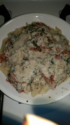 Alkaline pasta primavera made using portobello mushrooms onions kale and sun-dried tomatoes spelt noodles and alfredo sauce was made using Ty's conscious kitchen hemp milk and Brazil nut cheese recipe (Alkaline Diet Recipes)