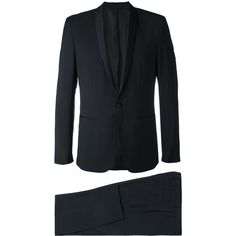 Calvin Klein Two Piece Dinner Suit ($711) ❤ liked on Polyvore featuring men's fashion, men's clothing, men's suits, mens 3 button suits, one button mens suits, mens wool suits, mens tuxedo suits and mens two piece suits