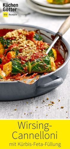 Savoy cannelloni with pumpkin and feta filling - Low Carb Recipes Calories In Vegetables, Low Carb Veggies, Veggie Recipes, Cooking Recipes, Cannelloni Recipes, Homemade Tomato Sauce, Cheeseburgers, Fried Chicken, Vegetables