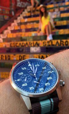 Bespoke Maurice de Mauriac Chronograph watch at the Escadaria Selarón in Rio De Janeiro. Handmade luxury watches for men and women.
