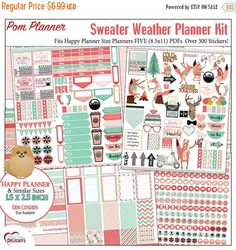 SALE 50% Off Sweater Weather Printable Planner Kit  5 PDFs, Over 300 Stickers EC or Happy Planner, Coral & Mint, Bible, Foxes, Fall, Winter, #winter #Christmas #Digital #Sale #DigiScrapDelights #Jesusisthereason #Digitalscrapbooking #DIY