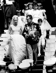 """Princess Grace and Prince Rainier's spectacular wedding in 1956 which the press called """"The Wedding of the Century""""."""