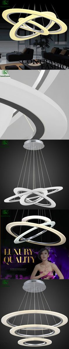 Modern Remote Control Dimmable Aluminium Acrylic Ring Led Chandeliers Lustre Luminaria Led Pendant Chandelier Lighting Fixtures