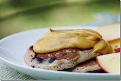 Buckwheat quinoa pancakes with pumpkin cream OR beet and berry sauce  with beet granola
