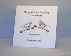Button Card Greeting Personalised Unique Art 50th Anniversary Birthday Wedding