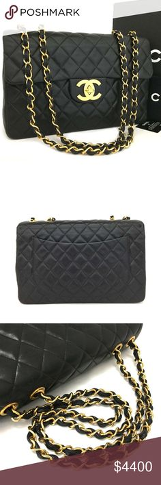 Chanel Classic Flap Maxi Jumbo Quilted Matelasse CHANEL Maxi Jumbo Quilted Matelasse XL Lambskin w/Chain Shoulder Bag Black. The over all is gently used or excellent condition. No rips, no tears and no stain. The item is sold in AS IS condition. Please check the photos for more details.   It comes with box, authenticity card and dust bag as shown on the picture.  100% Authentic or 100% Money Back Guaranteed CHANEL Bags Shoulder Bags