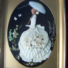 Looking through my old pics for Valentines and found this shell art piece that I found at a thrift store. Based on the old practice of making #sailorsvalentines which were art pieces composed of sea shells (often brought up via fishing nets). This particular Victorian lady is made entirely of shells and surrounded by dried flowers and mounted on a velvet background. The artist signed the back of the frame and it appears to have been a #handmade gift. So glad it lives with me now…